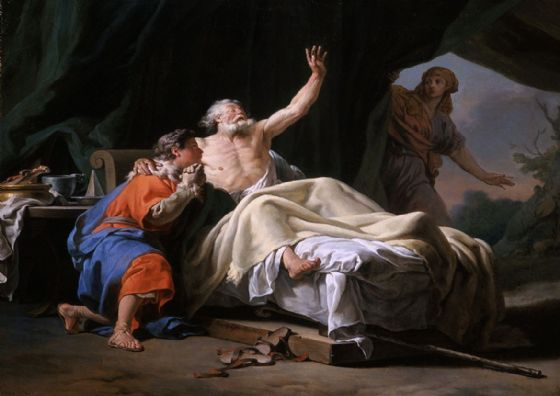 Brenet, Nicolas Guy: Isaac Blessing Jacob. Biblical Scene, Fine Art Print/Poster. Sizes: A4/A3/A2/A1 (001503)